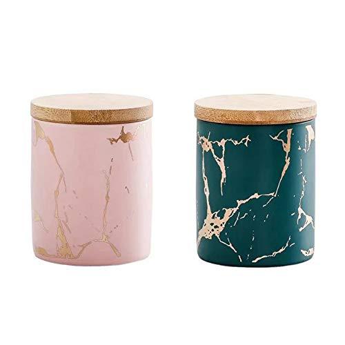 Chiatai 2 tarros de almacenamiento de cerámica con tapas de bambú, a prueba de humedad, para cocina, té, café, azúcar, especias, verde y rosa