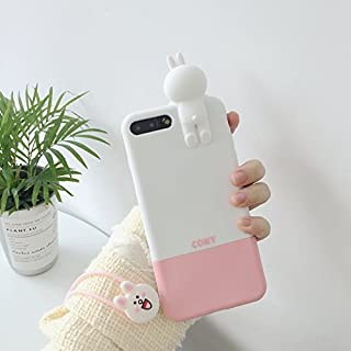 Soft Silicone Pink White Rabbit Bunny with Strap Case for iPhone 7+ 7Plus 7 Plus Large Size 5.5