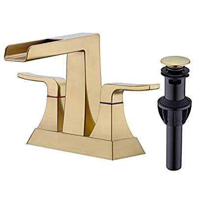 Brushed Gold Waterfall Bathroom Faucet 2 Handle 4 Inch Centerset Vanity Sink Mixer Tap with cUPC Water Supply Lines and Pop Up Drain Assembly