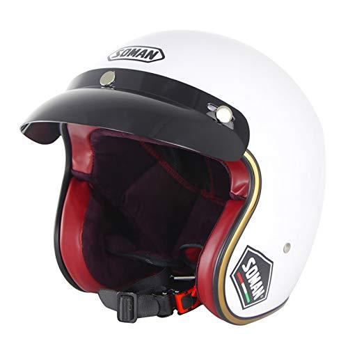 Half Helmet Open-Face Motorbike Helmet Brain - Cap Retro Anti-collision Motorcycle Helmet DOT ECE Certification Man Woman Cruiser Chopper Scooter Helmet Quick Release F,L=59~60cm
