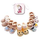 Sweetneed 6 Pares Calcetines Recien Nacido niño Calcetines de recién nacido Calcetines bebe niña Invierno 0-36 Meses Monedero Infantil de Dibujos Animados (Khaki, S)