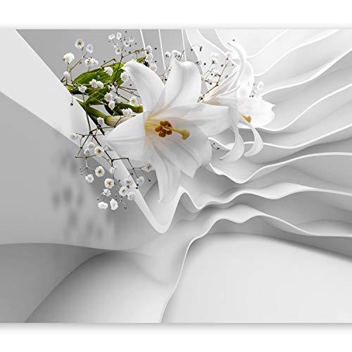 murando Fototapete Blumen Lilien 350x256 cm Vlies Tapeten Wandtapete XXL Moderne Wanddeko Design Wand Dekoration Wohnzimmer Schlafzimmer Büro Flur Blume Abstrakt weiß 3D Optisch Illusion b-C-0144-a-a