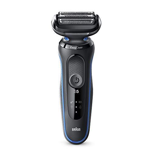 Braun Series 5s Rasierer Herren, Einfache Rasur & Reinigung, Wet&Dry, 50 Min. Laufzeit, Elektrorasierer mit 3 flexiblen Klingen, EasyClick zum Umrüsten des Rasierers, blau