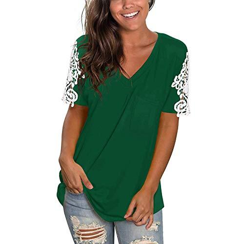 Damen Sexy V-Ausschnitt T-Shirt mit Spitze Sexy Schulterfrei Oberteil Damen T Shirt Leicht Sexy V Ausschnitt Kurzarm Shirt mit Spitze Elegant Shirts Oberteile Tops Sommer Tee Tops