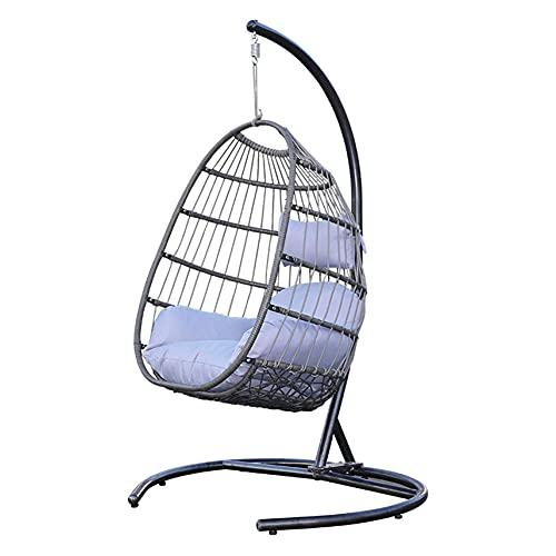 DFGH Columpio Colgante Huevo Silla, con Soporte y Base Totalmente de Acero, Juego Completo, Que Incluye un Asiento con cojín de Tela de Nailon Impermeable y con Clasificación UV