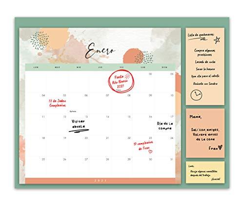 Calendario Familiar 2021 – Vista Mensual, Planificador Familiar con 3 Notas Adhesivas – para la Pared o la Nevera, para Casa o como Organizador de Cocina – a Diciembre de 2021, 30x40 cm
