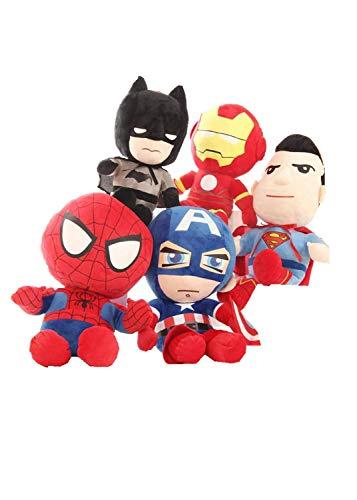 YUNMEI Muñeca de Peluche de Superman 5pcs/Lote Marvel The Avengers 30cm Stuffed Toys Super Hero Spider-Man Capitán America Superman Batman Plush Soft Plush Gifts For Children