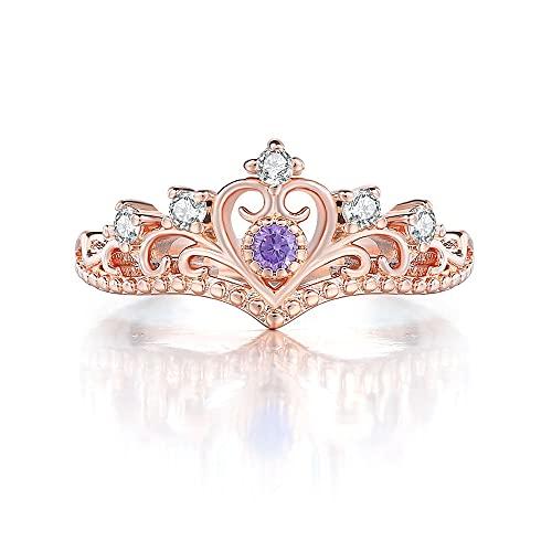 HHW Corona Americana Anillo De Mujer Platino con Incrustaciones De Circón Boda Amante Promesa Joyería,Púrpura,6