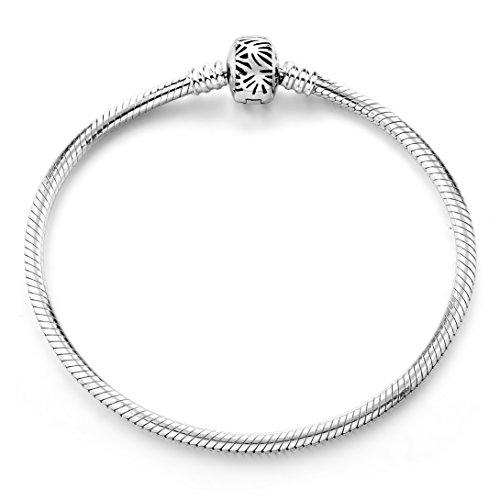 Bracelet,925SterlingSilverBasicCharmBraceletSnakeChainLongWayFineJewelryforWomen,BestChristmasBirthdayGiftforMotherWifeGirlfriend (Silver 7.5inches)
