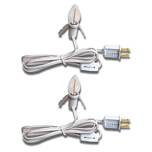 (2-Pack) Accessory Lamp Cord + Shatterproof Light Bulb for Craft Hobby Christmas Ceramic Village Houses, Salt Lamps, Table Lanterns w/ E12 Base, Switch, 6 Ft