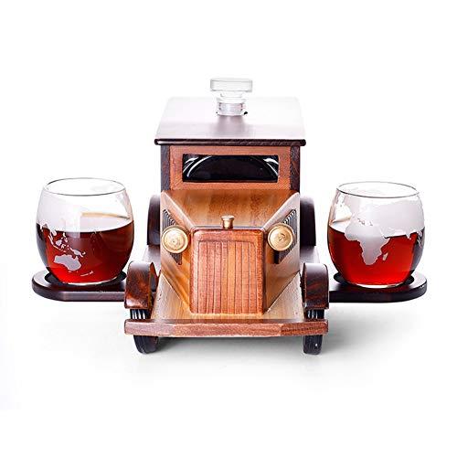 2 Vasos de cristal de piedras de whisky Dispensador de whisky, Juego de decantador de whisky de coche vintage para licor, Juego de regalo de whisky Regalo relacionado con el alcohol, Decoración de bar