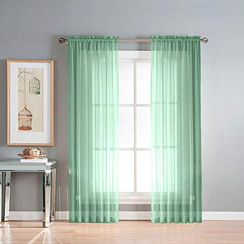 Green Semi Sheer Curtains Faux Linen Sheer Window Curtain 2 Panels Drapes 55x 84 Sheer Voile Curtain Panels Rod Pocket for Bedroom Privacy Drapes Living Room Balcony (2 Panels, Green)