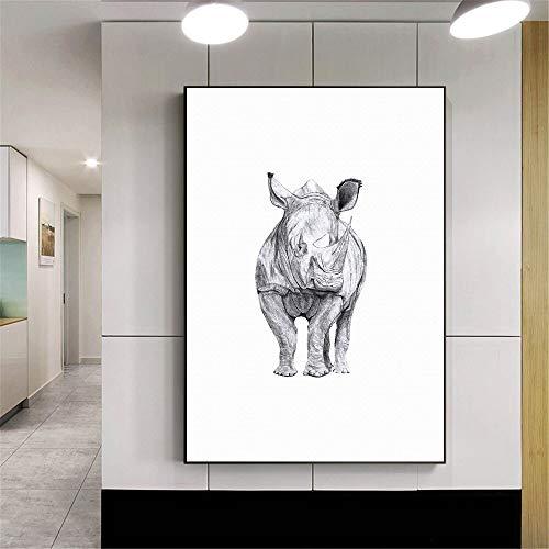 yuandp Paard Rhino Nordic Poster Zwart Wit Muurkunst Canvas Schilderij Muurschilderingen voor de woonkamer Scandinavische woning 50 * 75 cm