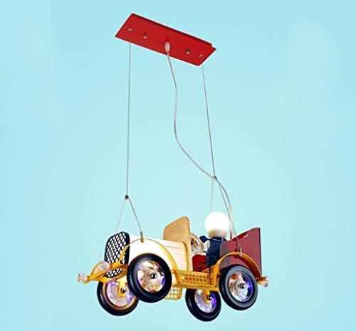 FMOGE Lámpara De Araña De Coche + Luz Colgante + Cuerpo De Lámpara De Hierro para Habitación De Niños, Jardín De Infantes, Iluminación Decorativa Creativa, Amarillo
