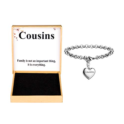 SANNYRA Cousins Bracelets Stainless Steel Heart Charm Bracelet Birthday Gifts for Her Him