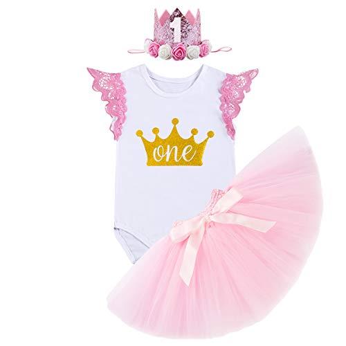 FYMNSI Infantil Bebé Niña Es mi Primer Vestido de Cumpleaños Mameluco de Manga de Encaje + Falda Tutu Rosa + Diadema Corona de la Princesa 3pcs Traje de 1 Año Fiesta Fotografía Vestir Regalo 12-18M