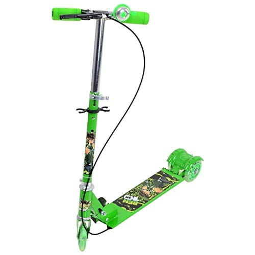 OM MART Advotis Kids Foldable 3 Wheel Scooter Cycle for 3 to 7 Years Age | 4 Adjustable Height | Foldable & Portable | LED PU Wheels | Weight Capacity 30 kgs | Kick Scooter with Brakes (Green)