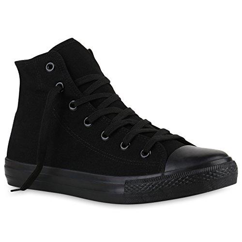 stiefelparadies Herren Sneakers Sneaker High Denim Turn Camouflage Stoff Schnürer Schuhe 139901 Schwarz All 43 Flandell