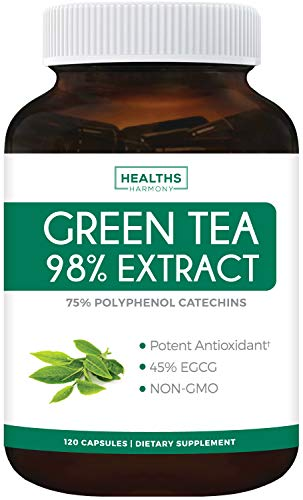 Green Tea 98% Extract with EGCG - 120 Capsules (Non-GMO) for Weight Loss & Metabolism Boost - Natural Diet Pills - Leaf Polyphenol Catechins - Antioxidant Supplement - 1000mg (500mg per Capsule)