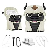 Alquar Airpods Case, 6 in 1 Airpod 2/1 Case Accessories Set, Appa Cute Cartoon Silicone AirPod Cover with Watch Band/Anti-Lost Lanyard/Brush/Ear Hooks/Keychain for Boys Girls (Appa Airpods Case )