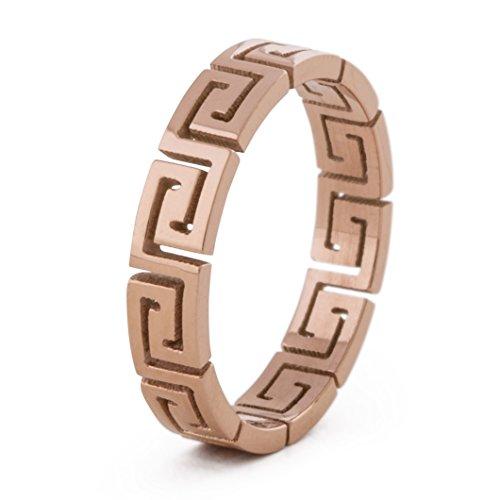 Akitsune Argius Ring | Griechisch Ornament Design-Ring Frauen Herren Edelstahl Filigran Mäander - Rosegold - US 8