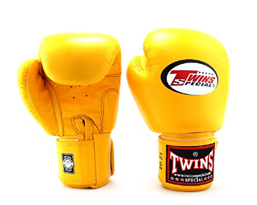 Twins Gloves for Training and Sparring Boxing, Muay Thai, Kickboxing, MMA (Yellow,8...