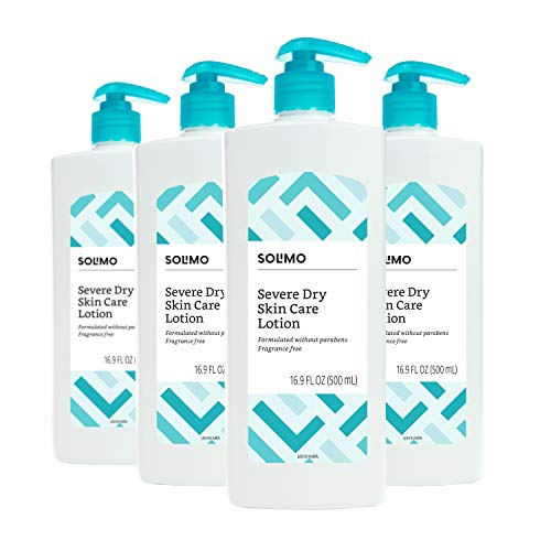 Amazon Brand - Solimo Severe Dry Skin Care Lotion with Gentle Exfoliation for Sensitive Skin, 16.89 Fluid Ounce (Pack of 4)