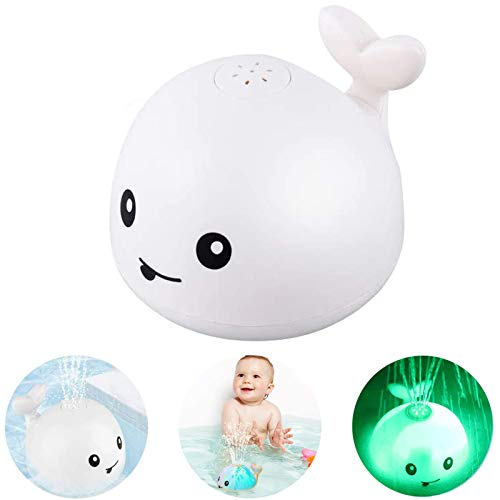 Bath Toy, Spray Water Squirt Toy LED Light Up Float Toys Whale Toy Bathtub Shower Pool Bathroom Toy for Baby Toddler Infant Kid Water Induction Toy