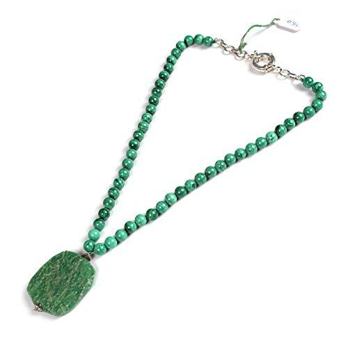 Neerupam Collection Collana di Perle Rotonde da 7,5 mm in Malachite Verde Naturale con Pendente sfaccettato in amazzonite Verde   Collana di Perle di Pietre preziose   Perline di qualità AAA