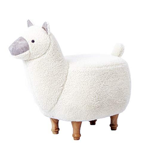 Dierenkruk, kinderkruk zitkruk hout beklede kruk rond voor kussens decoratie woonkamer slaapkamer keuken tuin (alpaca), wit