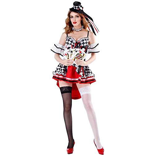 JXJ Disfraz De Reina del Corazón Rojo - Mazo De Cartas A Rayas En Blanco Y Negro Poker Ladies Fairytale Alice Wonderland Vestido para Fiesta Y Disfraces,M