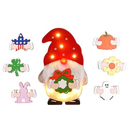 Muñeca sin rostro DIY adornos luminosos de madera para niños Home Fun Actividades Navidad Feliz Año Nuevo Decoración de fiesta Muñeca sin rostro de madera