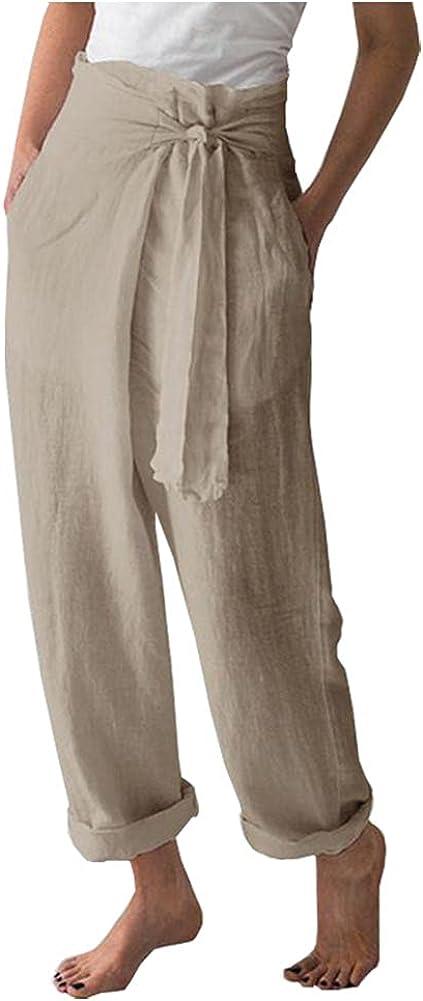 Ladyful Women's High Waisted Cotton Linen Pant Casual Baggy Beach Trouser