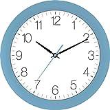 Eurotime Orologio da parete radiocontrollato da 30 cm, blu chiaro, cassa in plastica, vetro curvo, regolazione automatica dell'ora legale e invernale, quadrante trasparente, 52800-08-2