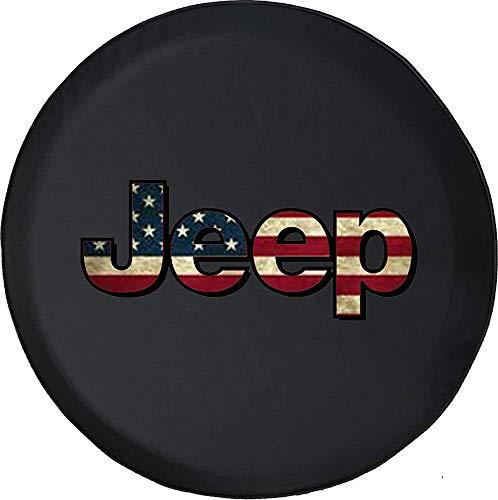 Y.Z.L. Cubierta del neumático de Repuesto Cubierta de la Rueda de Repuesto Bandera Americana Vintage Blanco Azul USA Freedom (Se Adapta a: Accesorios Wrangler, SUV y RV) 14/15/16/17in