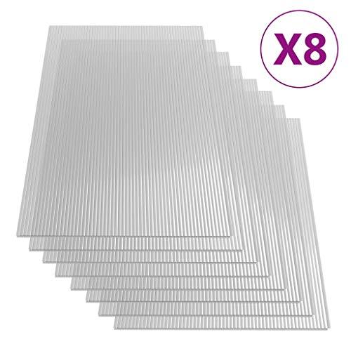 Goliraya 8 STK. 6 mm Polycarbonatplatten Doppelstegplatten Hohlkammerplatten Polycarbonat Stegplatten 140×61 cm
