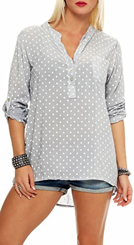 Malito Damen Bluse mit Punkten | Tunika mit ¾ Armen | Blusenshirt auch Langarm tragbar | Elegant - Shirt 3419 (hellgrau)