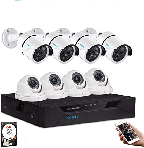 Tonton - Sistema de videovigilancia 1080P Full HD 8CH DVR con 6 cámaras de vigilancia Exteriores 1080P, Carcasa de Metal,...