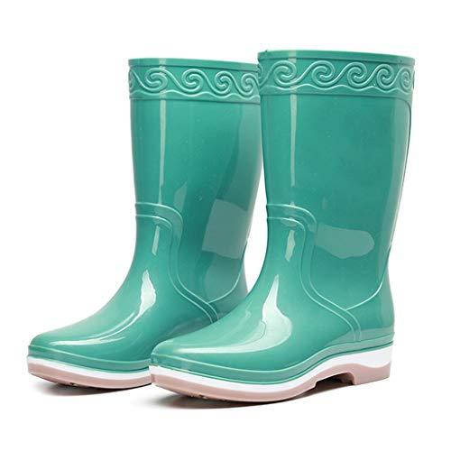 YQQMC Tubo Medio de Las Mujeres Botas de Lluvia de PVC Resistente al Agua de Lluvia Plataforma Botas Slip-en los Zapatos de jardín En el jardín (Color : Light Green, Size : 39)