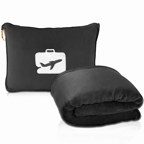 EverSnug Reisedecke und Kissen - Premium weiche 2-in-1 Flugzeugdecke mit weichem Taschenkissen, Handgepäck-Gürtel und Rucksack-Clip (schwarz)