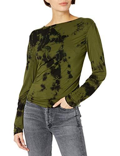 KENDALL + KYLIE Camiseta con detalles fruncidos y efecto marmolado, Verde Kylie/negro, S para Mujer