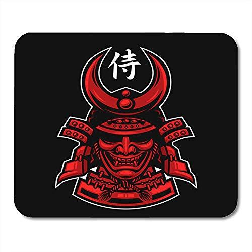 Gaming Mouse Pad Krieger Ronin Samurai Japaner Schädel Bushido Gesicht Japan Rüstung Maske Büroträger Mousepad Mauspad