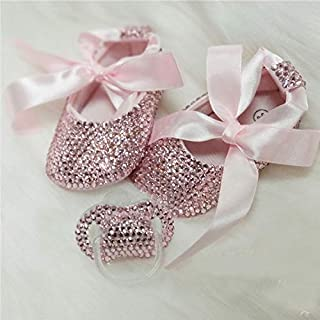 Pink Rhinestone Baby Toddler First Step Shoes Glitter Girls Crystal Mary Jane Ballet Shoes with Baby Teether Soother Set