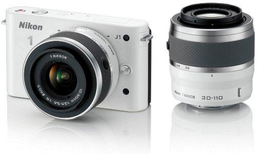 Nikon 1 J1 Systemkamera (10 Megapixel, 7,5 cm (3 Zoll) Display) weiß inkl. 1 NIKKOR VR 10-30 mm und VR 30-110 mm Objektive