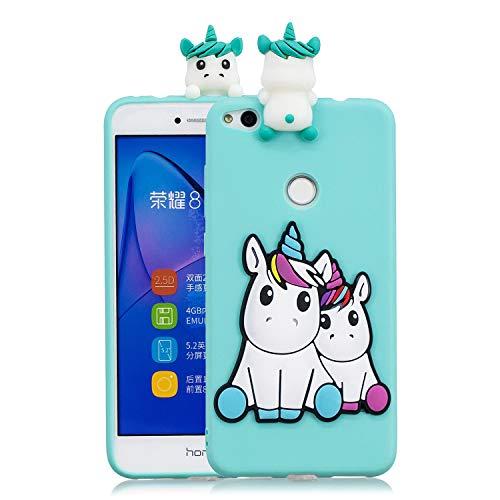 Funluna Cover Huawei P8 Lite 2017, 3D Unicorno Modello Ultra Sottile Morbido TPU Silicone Custodia Antiurto Protettiva Copertura Flessibile Gomma Gel Back Cover per Huawei P8 Lite 2017