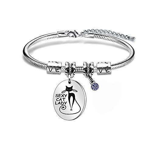 Pulsera de abalorios para mujer con colgante de cristal de gato y señora de regalo para mujer (pulsera) (plata/azul marino)