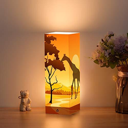 FULLSUN Schattenlampe, Giraffen-Design, Papierlicht, USB & 3 AA batteriebetriebener Touch-Schalter, LED-Schreibtisch-Nachtlicht für Kinderzimmer, Wohnzimmer, Café, Bücherregal