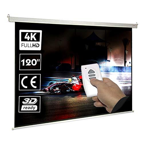 Pantalla de proyeccion motorizada de 120', dimensiones de la tela 2,64 x 1,49 metros, cajetin de acero 3 metros, pantalla para proyector electrica con mando inalambrico, auto enrollable, compatible con 4K, 16:9 (120 pulgadas 16:9)