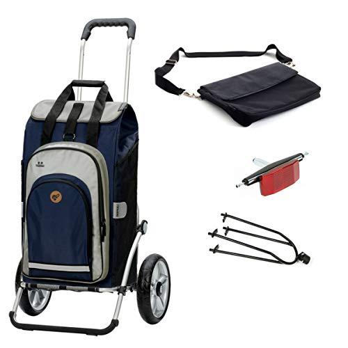 Andersen Einkaufstrolley Royal mit Fahrrad-Anhängerkupplung und 62 Liter Einkaufstasche Hydro 2.0 blau mit Kühlfach, extra Laptoptasche