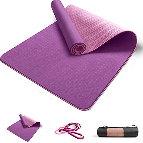 ZBK Alfombrilla de yoga antideslizante de TPE de dos colores, 80 cm ampliada, 183 x 80 x 0,6 cm (morado)